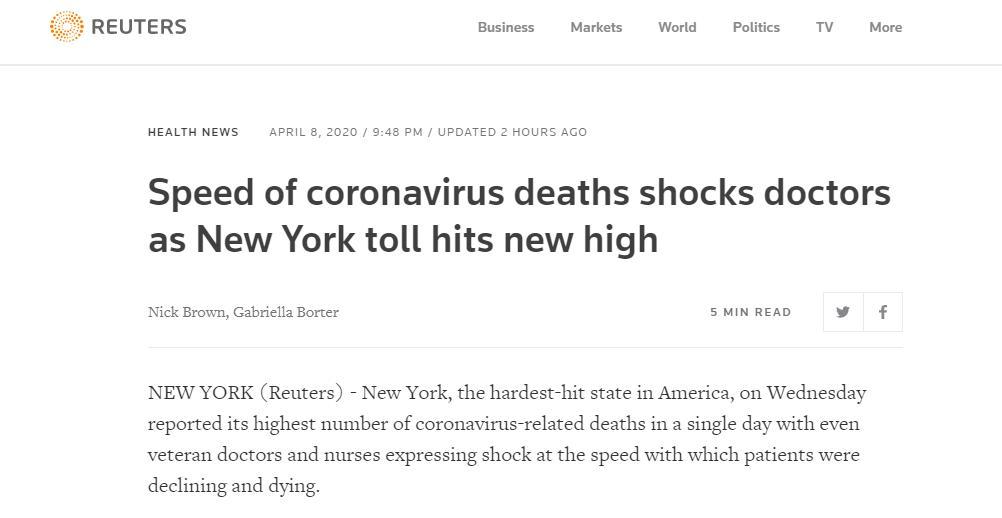 纽约州单日死亡779人!纽约疫情来自哪里?美国专家重要发现