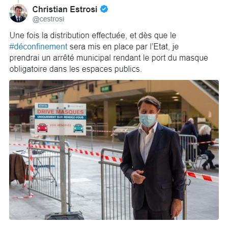 法国尼斯市长宣布一旦解除限制性措施 公民必须在公共场所佩戴口罩