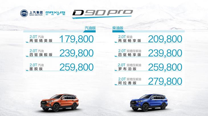 上汽MAXUS D90 Pro售17.98万起 配两把锁
