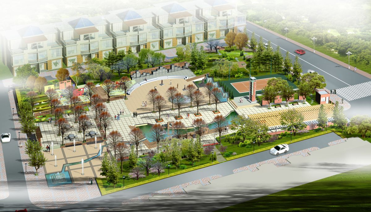 住宅小区景观 房地产 规划 阳光花园小区鸟瞰效果图图片