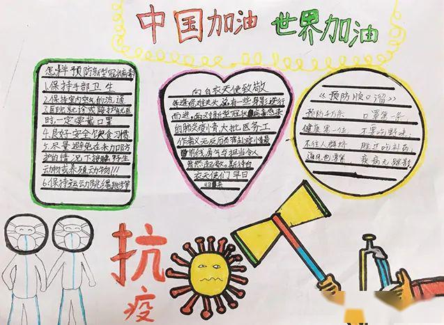 手工书 2020年 陈雨晨  7岁 / 广州番禺 我为抗疫加油 手抄报 2020年