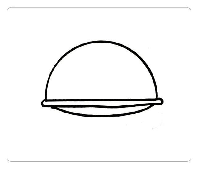 step 2:然后,画表情和上半身   接着画出表情和上半身的轮廓,衣领是一个三角形,上半身是一个梯形   step 3:将身体画完整   绘画步骤   step 1:首先,画安全帽   首先,先画出一个半圆,再画出帽檐