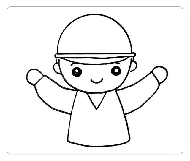 step 3:将身体画完整   接着我们画出下半身的轮廓线,以及上衣和帽子上面的线条   step 4:画工具   首先,先画出一个半圆,再画出帽檐   step 2:然后,画表情和上半身   接着画出表情和上半身的轮廓,衣领是一个三角形,上半身是一个梯形