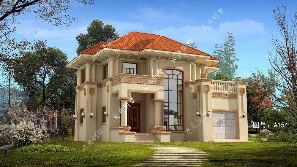 此别墅设计案例: a154号别墅设计图纸及效果图介绍: 占地规格:门面13