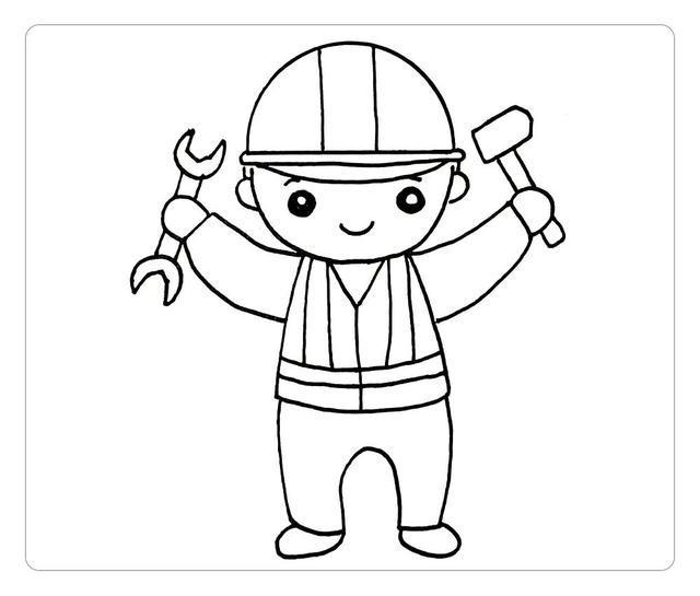 五一劳动节,工人叔叔简笔画