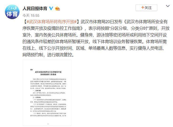 人民日报:武汉体育场所将有序开放