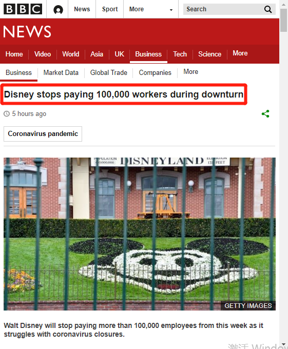 """迪士尼停止支付10万员工薪水,白雪公主要""""哭""""!市值暴跌5500亿"""