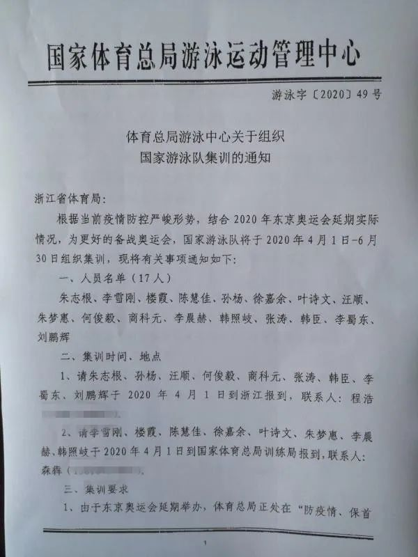 孙杨入选中国游泳队奥运集训名单
