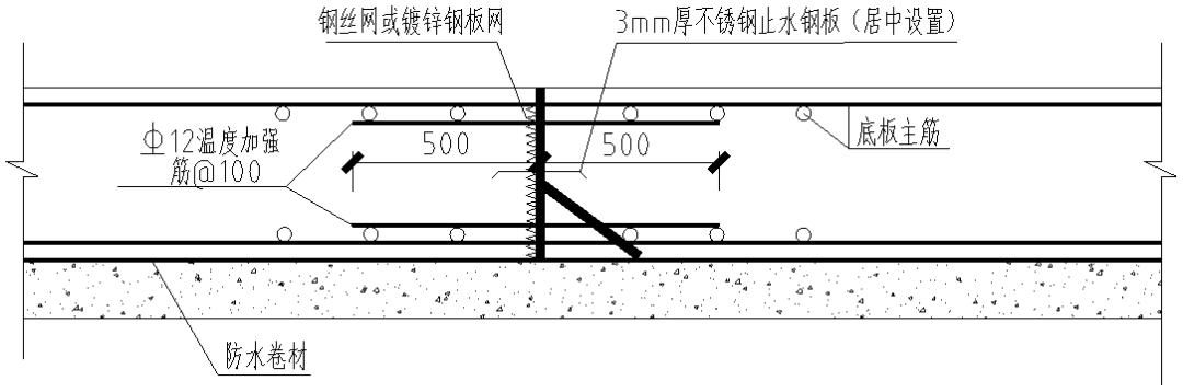 基础底板施工缝的两种做法:钢丝网和快易收口网
