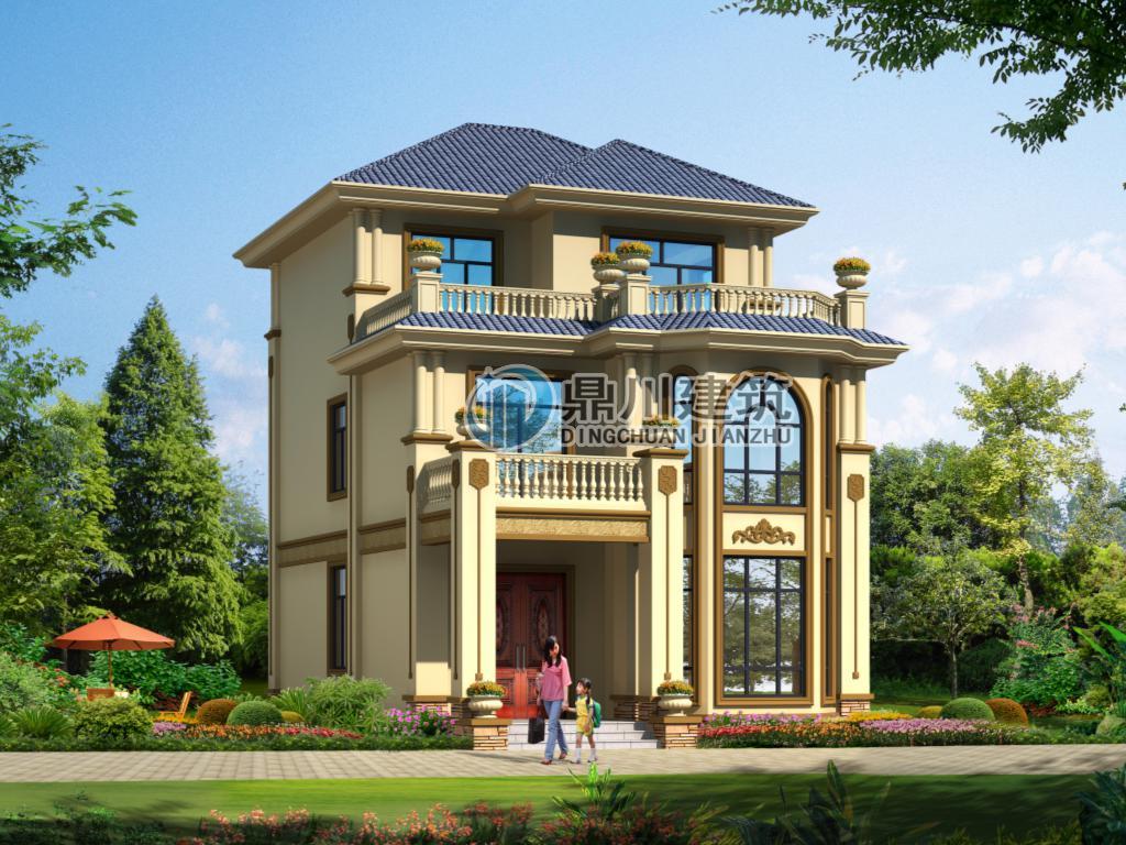 面宽8米建三层别墅设计图,5室4厅带堂屋造价才27万,大气不输百万别墅