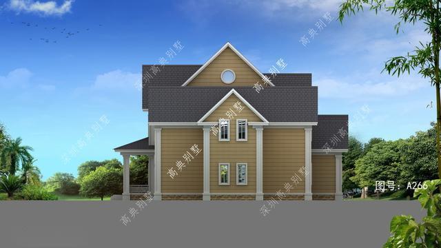 美式风格别墅 a266号别墅设计图纸及效果图介绍: 占地规格:门面25.
