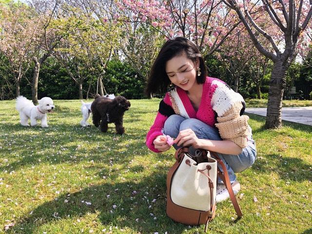 宋祖儿摘下口罩户外遛狗,穿拼色V领衫配水洗仔裤,像极了春天!
