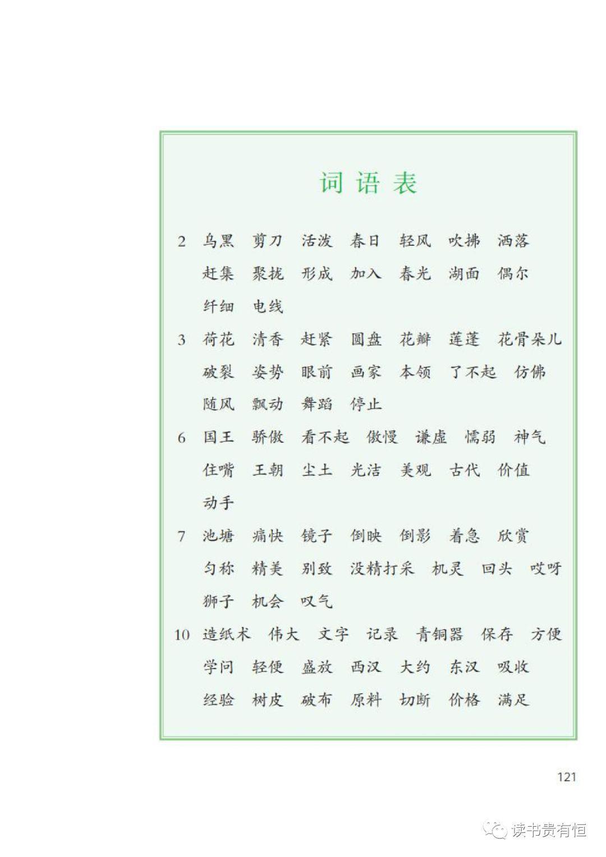 四年级下册语文生字表