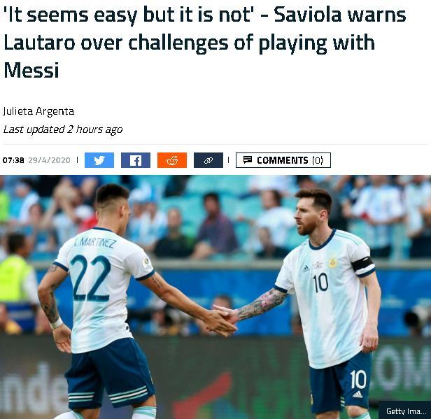 萨维奥拉警告劳塔罗:在梅西身边踢球看起来简单 但其实并不容易