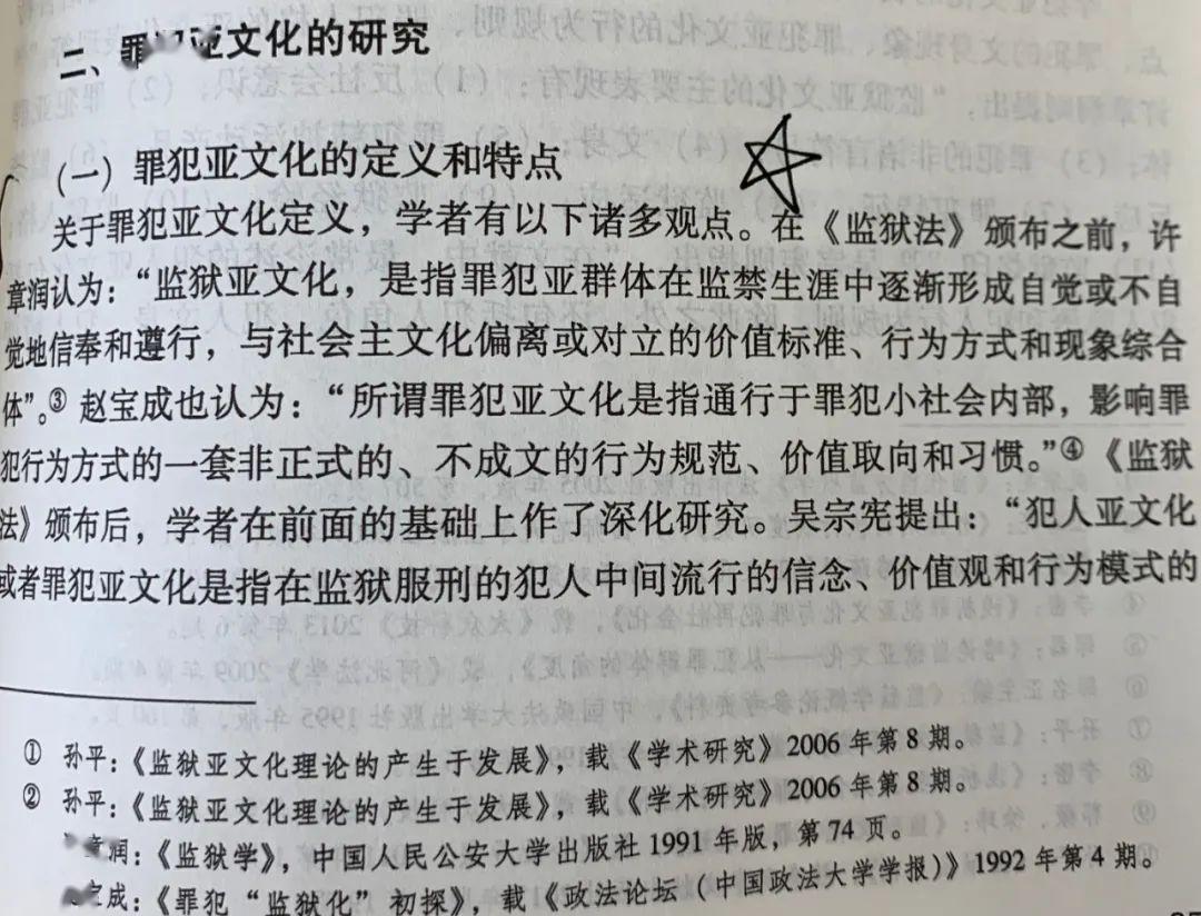 《新中国监狱学研究20年综述》内页,监狱亚文化的准确定义是:通行罪犯小社会内部,影响罪犯的非正式、不成文的行为方式。