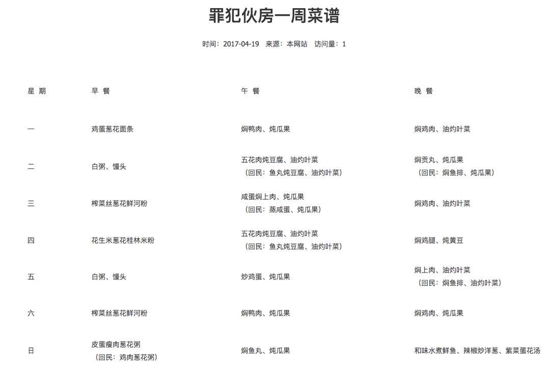 2017年,广东清远监狱的一周菜谱,出处:广东清远监狱官网