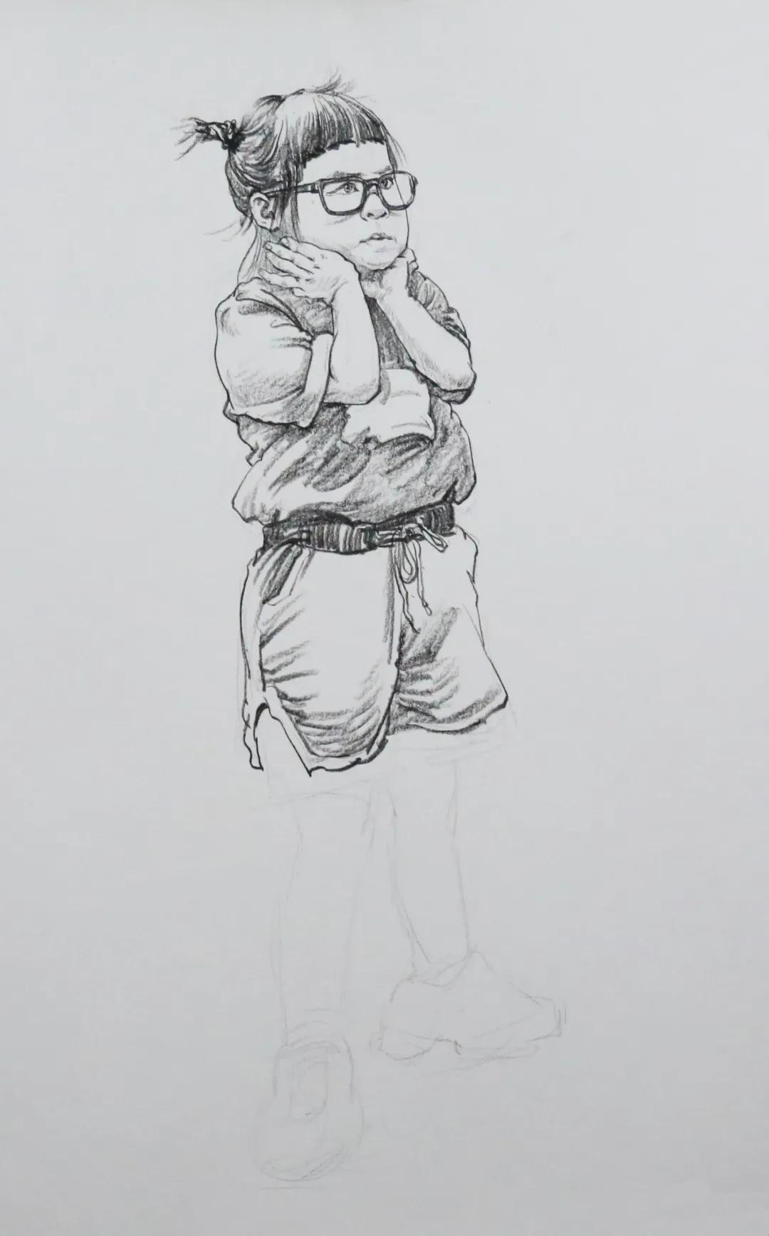 单人速写线上作业 小女孩半侧面手托腮站姿