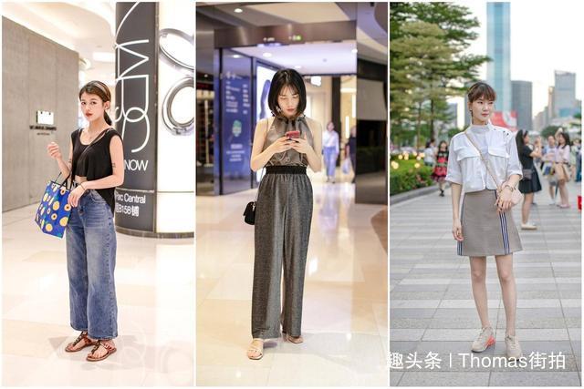 街拍时尚潮人穿搭,阔腿牛仔裤藏肉且时尚,短T短裤很减龄更清爽