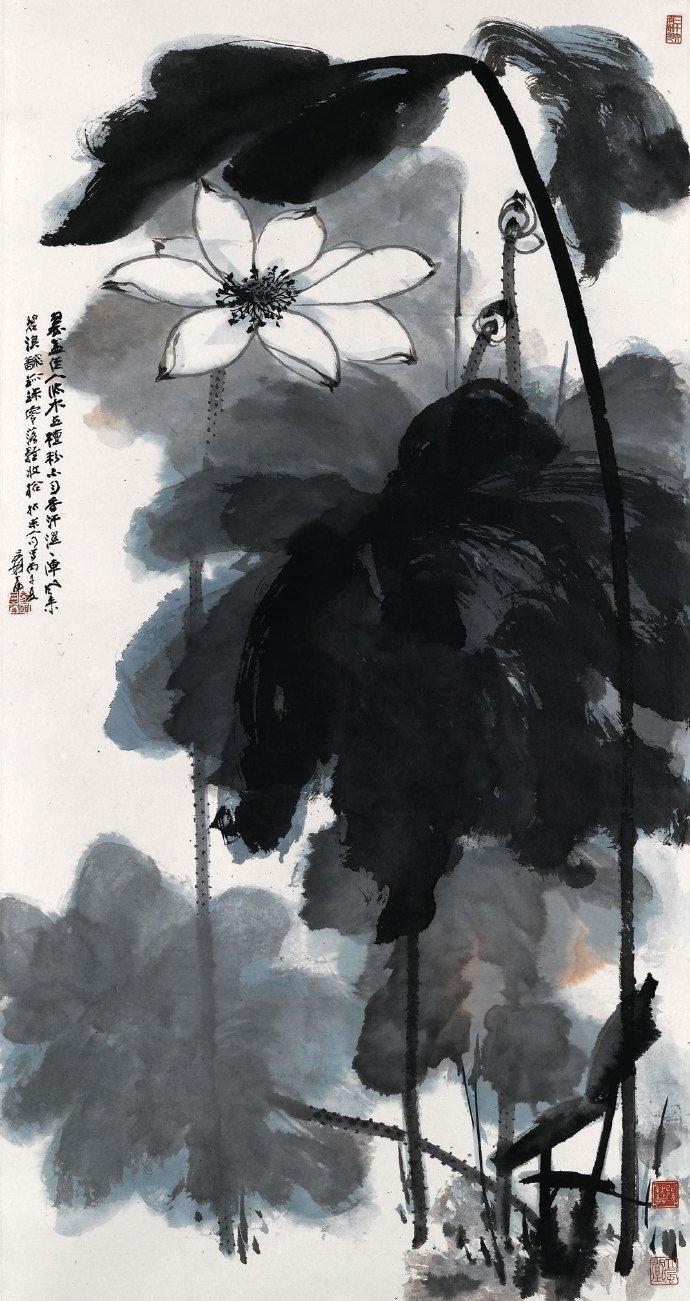 中国国画大师张大千荷花作品欣赏