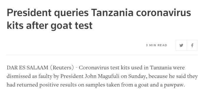 """恒耀开户""""山羊和木瓜样本检测出阳性"""",坦桑尼亚总统吐槽检测试剂质量,下令调查"""