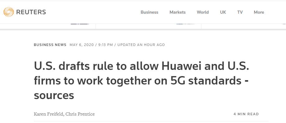 路透社:美商务部拟签发新规,允许美企与华为合作参与5G网络标准制定