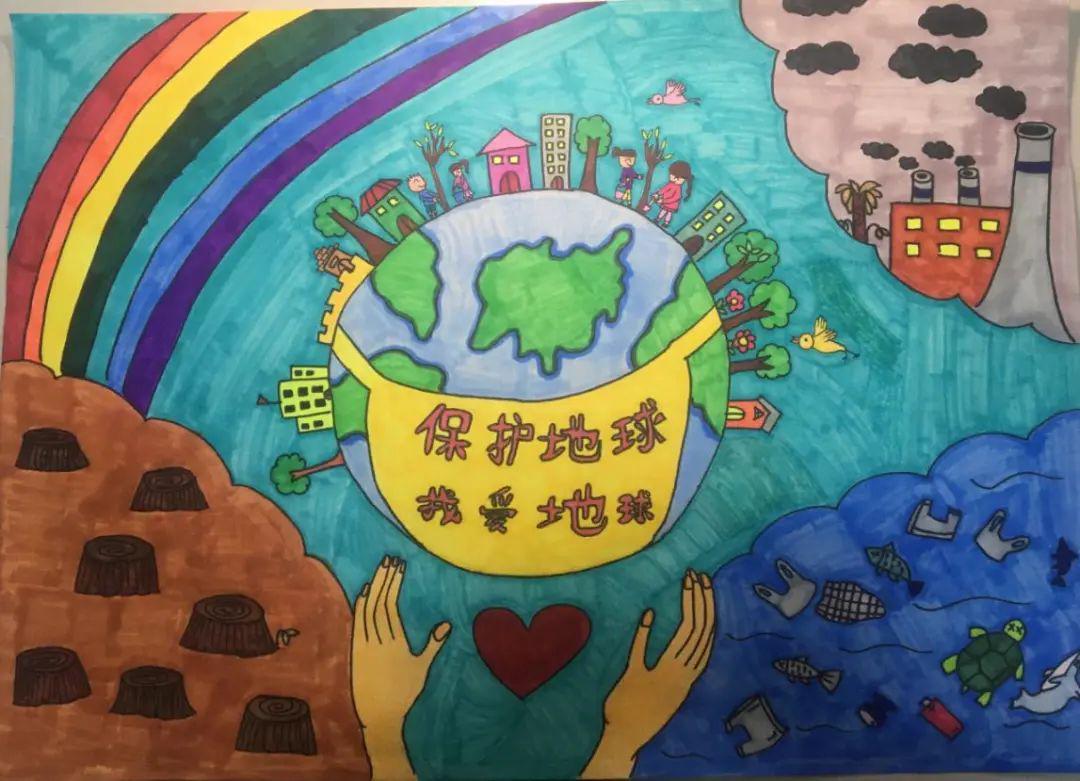 关于保护地球儿童画图片作品_格格手抄报