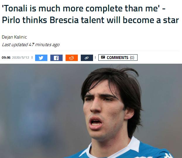 皮尔洛称赞接班人:他比我更全面 会成为伟大球星