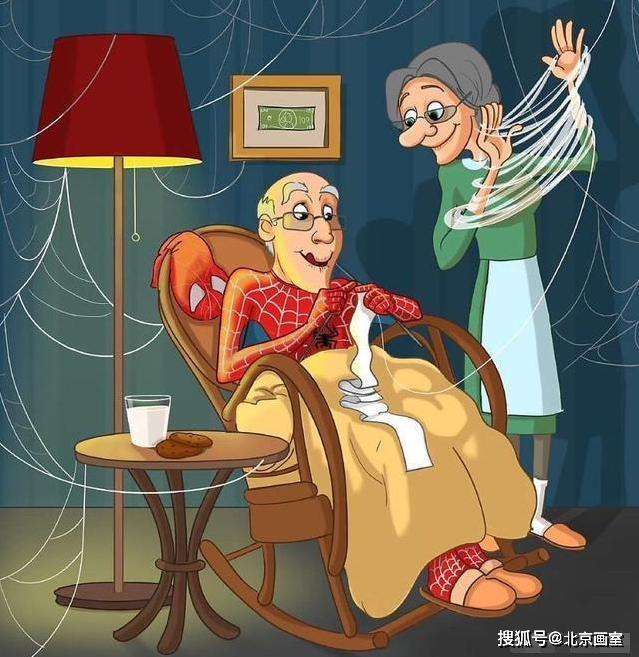 美队把盾牌当雨伞,蜘蛛侠坐轮椅织毛衣图片