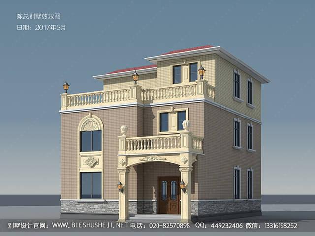 两层半欧式独栋别墅建筑设计图图片