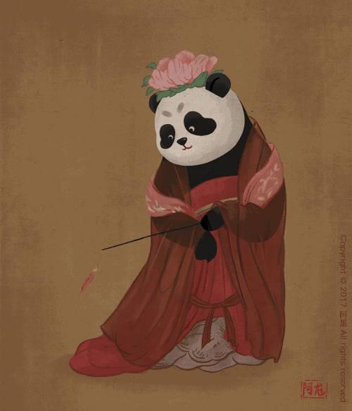 国宝大熊猫萌一脸,被艺术家画进唐朝当小贵妇图片