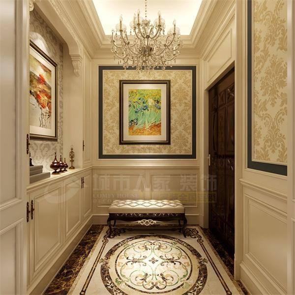 入户门厅处地面拼花造型,划分区域独立空间,过道设计一处端景造型一