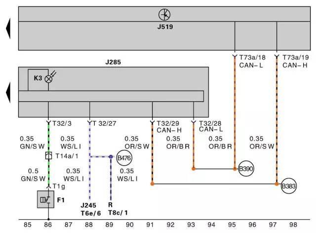 仪表系统电路图—机油压力开关电路图