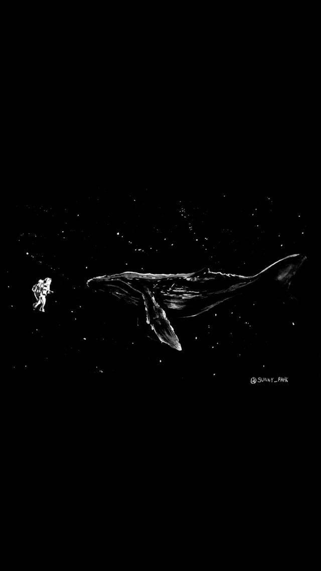 【黑色系列】黑色背景手绘画 | 手机壁纸