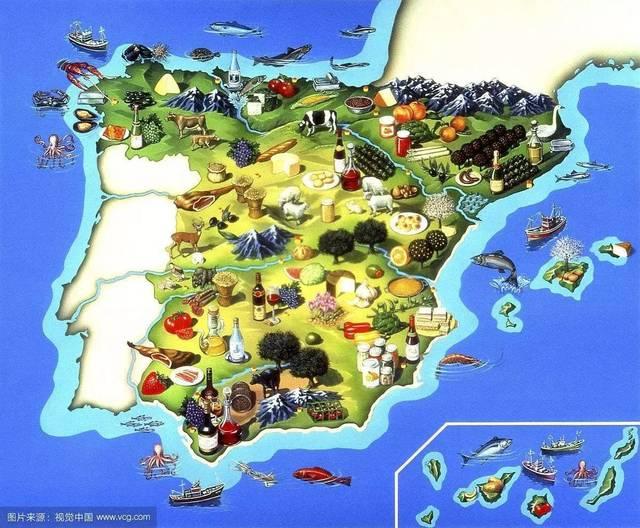 烤猪尾,浓炆鸡冠,煎鳕鱼…手绘的西班牙美食地图,收好