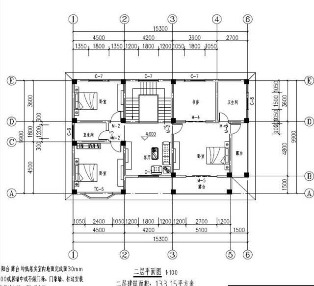 户型见得多了,难免会产生视觉疲劳,这时候要遵从本心,自己想要什么样的,家里人想要什么样的,自己能做到什么样的,能给到家里人什么样的才最关键,这款户型,占地100多平,造价也经济,可供参考。 图纸详情介绍: 占地尺寸:面宽15.3米x进深9.9米 占地面积:133平方 建筑总面积/总层高:266平米(不含入户平台、阳台、露台)/总高10.