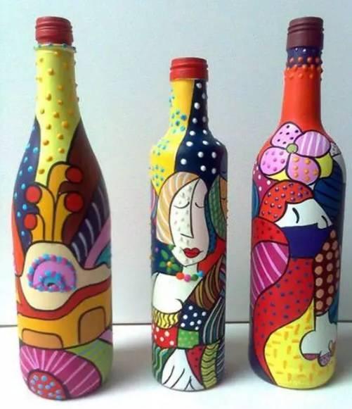 手工制作酒瓶画画