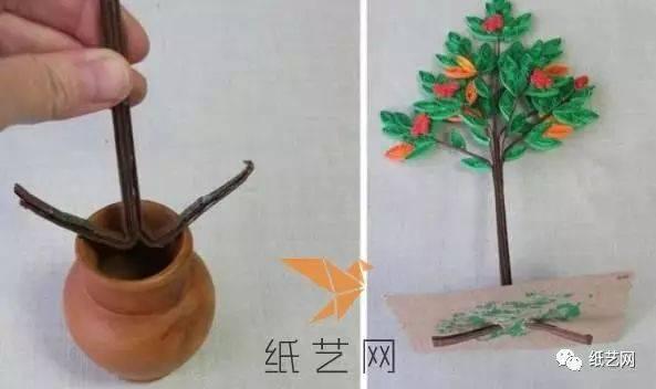 环创装饰漂亮的衍纸树木手工制作教程