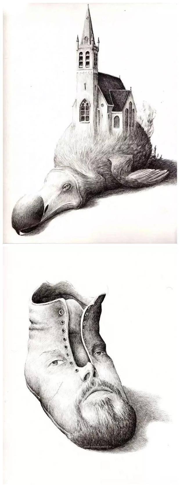 创意素描之——鸟背上的建筑物与人脸鞋子图片