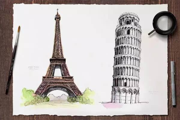埃菲尔铁塔(法国) &比萨斜塔(意大利)图片