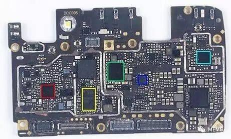 oppo a77智能手机主板上使用的logic,memory,pm,rf和mems芯片使用信息