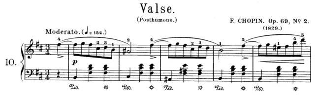 以肖邦的b小调圆舞曲为例, 肖邦再次利用踏板作为断奏的引导, 脚随着