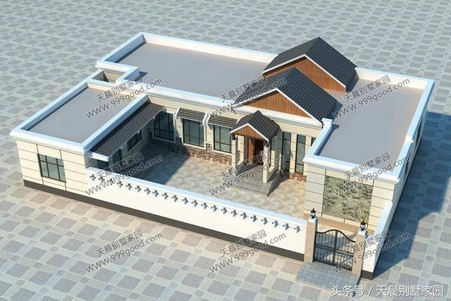 一层别墅设计图:院子,客厅,餐厅,厨房,储藏室,4个卧室,卫生间.