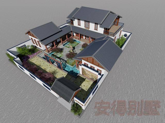 农村自建三合院设计,有水池庭院大露台,含详细图纸图片