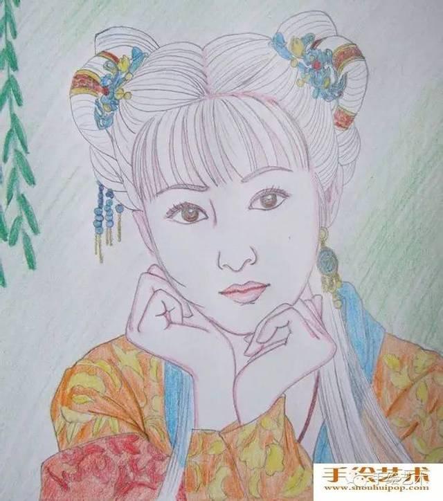 【手绘作品教程】美女人物彩铅画教程:中国古典美女头像彩色铅笔画