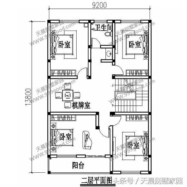 三层别墅设计图:储藏室,娱乐室,健身房,卫生间,露台