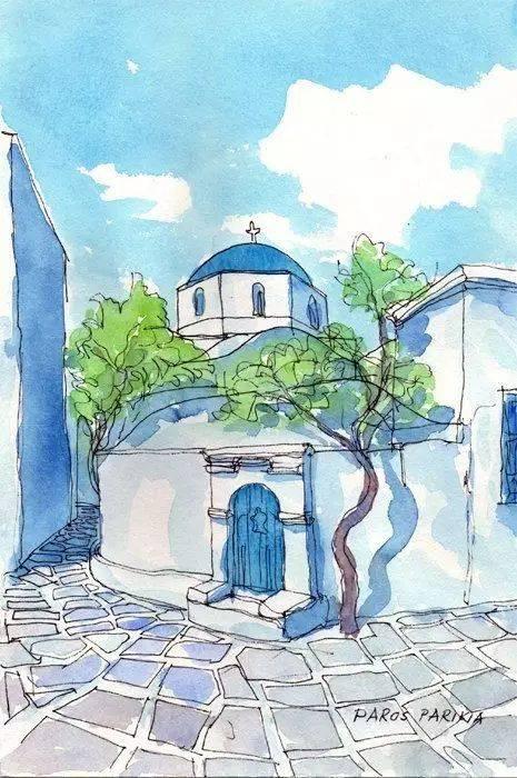 用彩画的简单风景画_一组简单清新的钢笔淡彩风景画