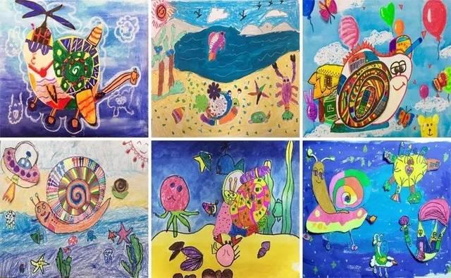 同样是画蜗牛,有潜水下海的,也有遨游太空的;有漫步沙滩的,也有海上图片
