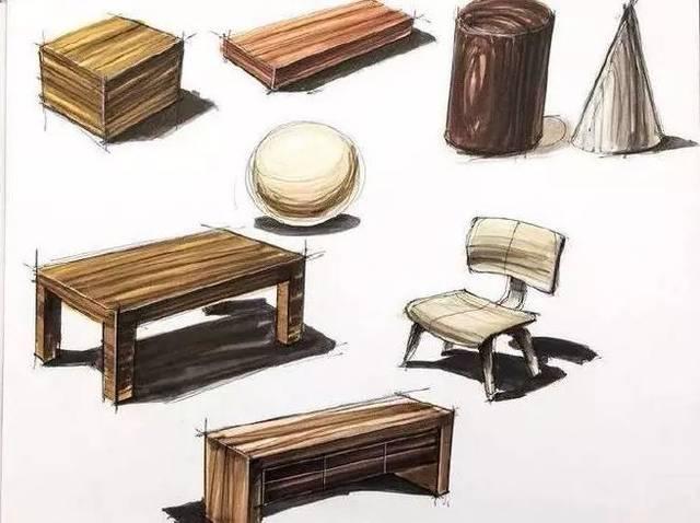 在进行木质产品的设计表现时,应画出原木表皮的粗糙感.图片
