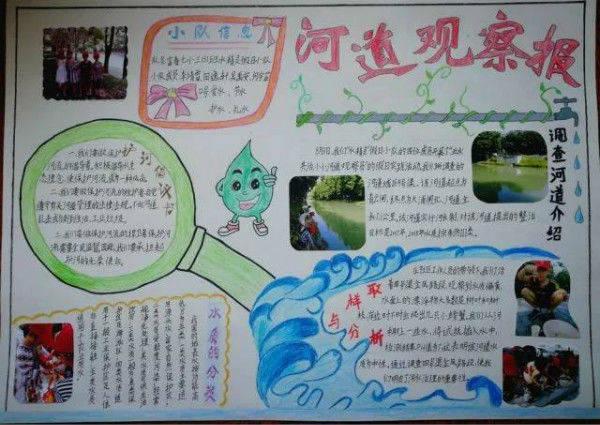 """同学们在开展""""五水共治""""实践活动的同时,还亲手制作了手抄报,治水绘画图片"""