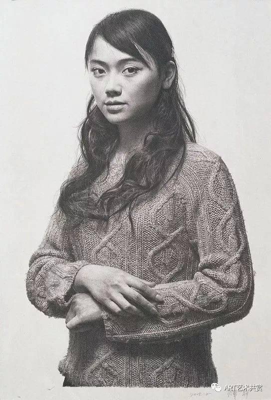 冷军油画作品:《素描-关于蒙娜丽莎微笑的设计》